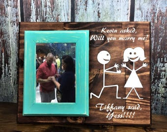 Will You Marry Me? Personalized 4 x 6 Picture Frame/Plaque, Engagement Frame, Custom Frame and Window  Decal, She said YES! - Stick Figures