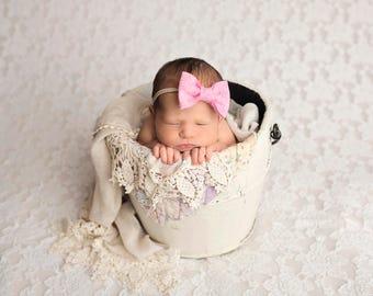 Pink Baby Felt Bow Headband, Felt Bow, Baby Headband, Newborn Photography Prop, Headband, Newborn Headband
