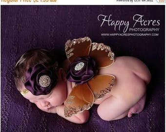 ON SALE Newborn Butterfly Wings and headband, Newborn Photography Prop, Baby Butterfly Wings, Nylon Wings, Photography Prop