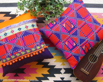 2 Aztec Pillow Cover - ORANGE PURPLE WEAVE 16x16 Boho Kilim Cushion Cover - Bohemian Home Decor