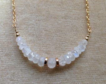 White Moonstone Bar 14K Gold Filled Necklace