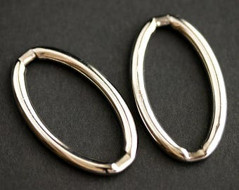 Two (2) Large Oval Links. Recycled Vintage Stainless Steel Links. Vintage Findings. Silver Connectors. Oval Connectors. 38mm x 22mm