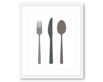 Fork Knife Spoon Print - Cutlery Print - Kitchen Decor - Kitchen Print - Kitchen Wall Art - Silverware Print - Aldari Art