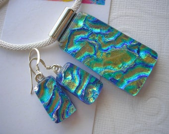 Jewelry Set Dichroic Glass Sunlit Blue Green Matching Pendant and Earrings Fused Glass .925 Sterling Earwires Color Shifting Glass Dichronic