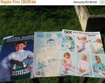 Set Of 3 Vintage  Baby Toddler  Knit and Crochet Patterns Circa 1979 Through 1988 79 Patterns In All