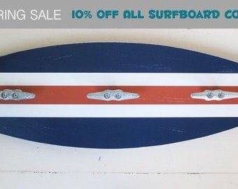 "Surfboard Towel Rack 28"" with Boat Cleats Navy and Orange"