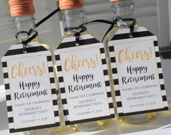 Retirement Party Favor Tags, Happy Retirement, Mini Wine Bottle Tags, Mini Champagne Tags, Retired Personalized Favors - Set of 12