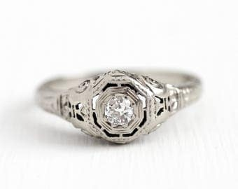 Filigree Diamond Ring - 18k White Gold Art Deco .13 Carat Solitaire - 1920s Size 7 Vintage Fine Engagement Bridal Etched Wheat Jewelry