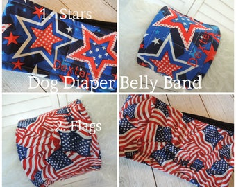 Patriotic, Flags, Stars, 4th of July, Independence Day, Dog Diaper Belly Band, Stops Marking with WeeWrap Personalized