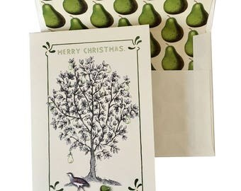 Partridge and Pear Tree Christmas Card or Thanksgiving Green Ivory Pear Scented