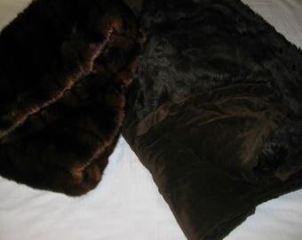 Faux Fur Blanket Brown Large & 2 Faux Mink Fur Pillow Covers