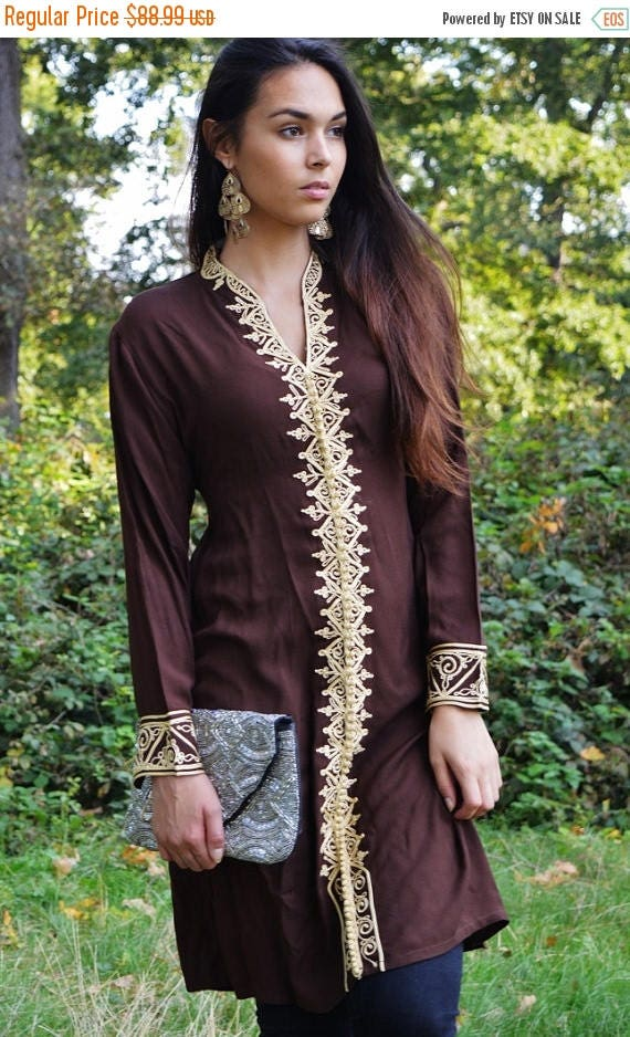 Autumn Dress 20% OFF/ Brown Tunic Dress with Gold Embroidery-Samia- perfect for birthday gifts,resort wear, Valentine's day, winter wear, bo