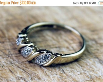 ON SALE Vintage Gold Diamond Ring Cluster Engagement Wedding Ladies Yellow Gold 9ct 9k FREE Shipping Size N.5 / 7