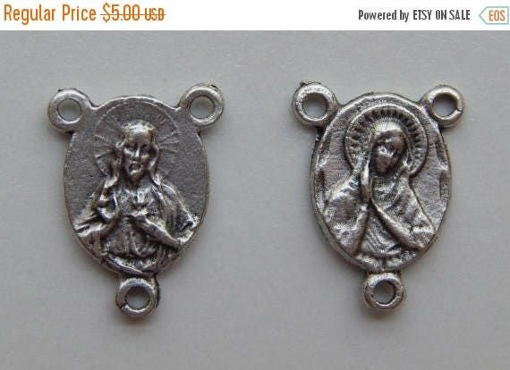 CLOSING SALE 5 Rosary Center Piece Findings, Mary, Our Lady, Sacred Heart, Silver Color Oxidized Metal, Rosary Centers, Religious, Made in I