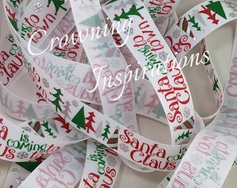 7/8 Traditional Christmas SANTA Claus is Coming to Town US Designer ribbon