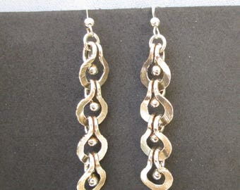 Sterling Silver Drop Earrings with Loop and Ball Design