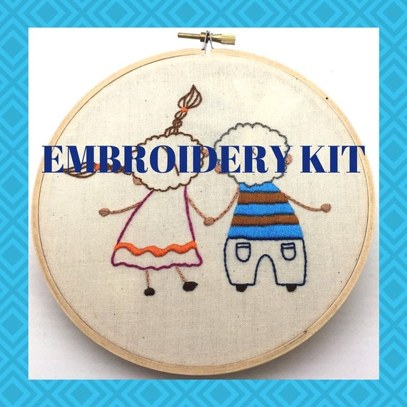 You & Me Embroidery Kit, All Levels, Whimsical, Embroidery Pattern, Hand Embroidery