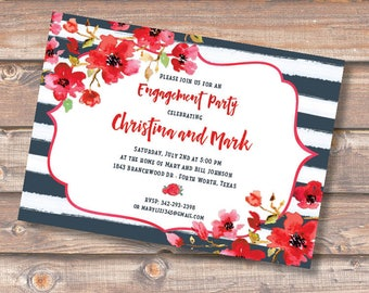 Red Watercolor Floral Invitation Printable Fourth of July Patriotic Independence Day Birthday Party Navy Stripe Bridal Shower Invite BBQ