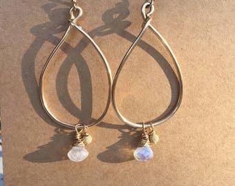 Moonstone Goldfilled Briolite Earrings