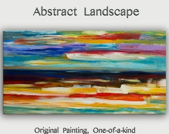 """sale Abstract Painting Original Art huge Impasto Texture modern oil painting  Surreal construction on linen canvas by Tim Lam 48""""  x 24"""""""