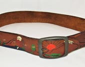Vintage 70's Hand Tooled Painted Brown Leather Hippie Boho Belt - Size Small
