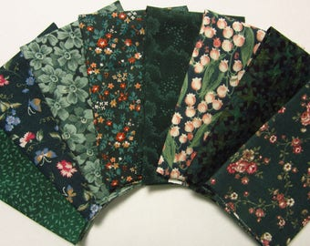 8 Assorted Darker Green Calico Fabric Scraps, Fat Sixteenths Calico Cotton Fabric Remnants, Quilting, Sewing Set 2
