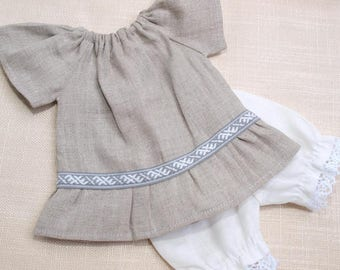 Waldorf Doll Clothes - Set of 2, Linen Peasant dress and linen bloomers, fit 12- 13 inch dolls