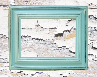 Shabby Chic Picture Frames Distressed Rustic Wood 5x7 Picture Frame Turquoise Blue & Custom Colors Home Decor Wall Art