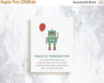 ON SALE Custom Invitations | Robot | Birthday | Baby Shower | Choose Your Colors
