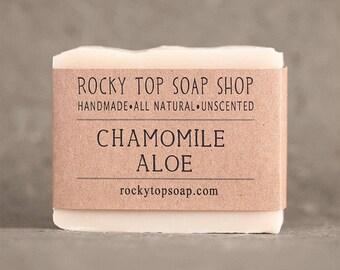 Chamomile Aloe Soap - Facial Soap, All Natural Soap, Unscented Soap, Cold Process Soap, Aloe Soap