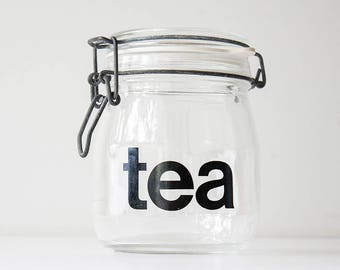 Vintage Modern Glass Typography Tea Jar