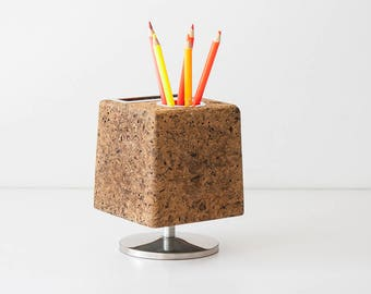 Vintage Modern Cork Cube Pencil Holder