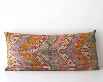 Large Vintage Turkish Kilim Pillow Cover - Floor Cushion - Boho Decor