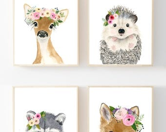Baby animals print set, Set of 4 Prints, baby girl nursery, woodland nursery set, nursery print set, animal posters, wall art, woodland