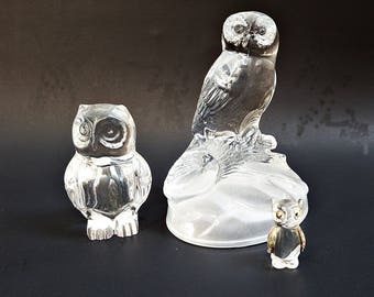Vintage Lot Crystal Owls/ Trio of Glass Owl Figurines/ Instant Owl Collection