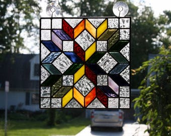 Stained Glass Sun Catcher Amish Carpenter's Wheel Quilt Block