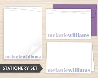 Personalized Stationery Set | Modern Stationery Set | Custom Stationery | Women's Personal Stationery | Purple Lines