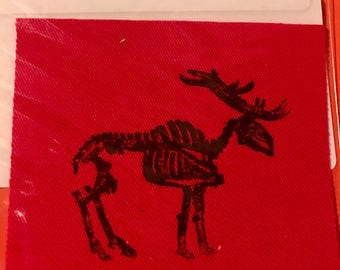 colored denim cloth screen printed elk skeleton patch