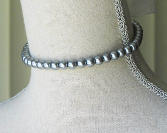 Silver Gray Pearl Choker, 18th century style jewelry