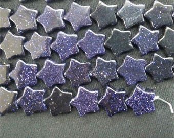 20pcs/lot - Synthetic Navy Blue Sand Stone Star Beads 10mm -central drilled