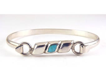 Mexican Sterling Silver & Turquoise Inlay Hook Clasp Cuff Bangle Bracelet