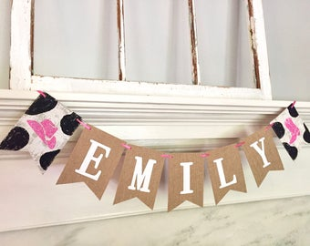 CUSTOMIZED western banner, cowgirl banner, nursery decoration, baby shower banner, birthday banner, personalized, cow print, boots, hat