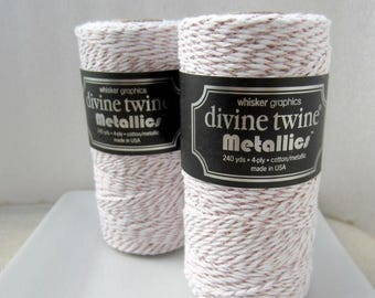 VACATION SALE Rose Gold MetallicTwine, Rose Gold Divine Twine- full spool, 240 yards, cotton string, rose gold bakers twine, packaging suppl