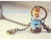 Ocean in a Bottle necklace,miniature mermaid glass bottle with Shells necklace,ocean jewelry, Inspirational gift for women, beach necklace