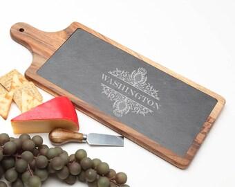 Wood Cheese Board, Personalized Slate Board, Acacia Wood Slate Cheese Board, Slate serving board, Personalized Wedding, Housewarming D36