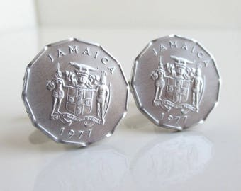 JAMAICA Coin Cuff Links - Repurposed Vintage Silver Tone Coins