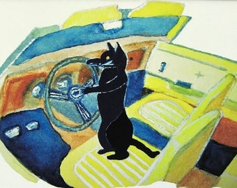 Black cat art watercolor painting print, Kitty drives a 1969 Camaro convertible muscle car, 8x10 matted giclee