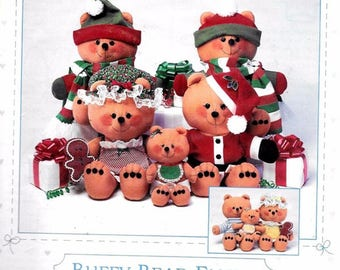 Buff Bear Family Pattern with Christmas or everyday clothing
