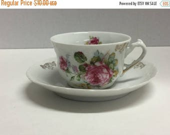 Sale Vintage Tea Cup and Saucer Set Pink Flowers Peony Peonies Floral  Unmarked
