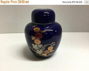 Sale Vintage Cobalt Blue Ginger Jar Floral Flowers Made in Taiwan